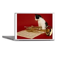 Kitten with trumpet, close-up Laptop Skins