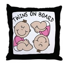 Twin Girls on Board Throw Pillow