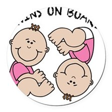 Twin Girls on Board Round Car Magnet