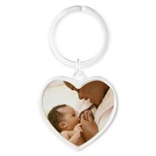 Mother nursing baby boy 0-3 months Heart Keychain