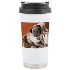 Dog in laundry basket Travel Mug