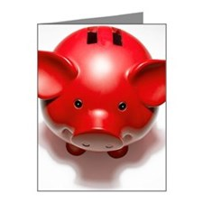 Red piggy bank, close-up Note Cards (Pk of 20)