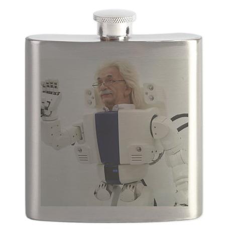 Robot Albert Einstein waving Flask