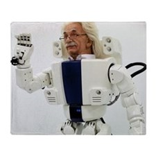 Robot Albert Einstein waving Throw Blanket