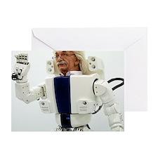 Robot Albert Einstein waving Greeting Card