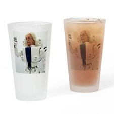 Robot Albert Einstein waving Drinking Glass