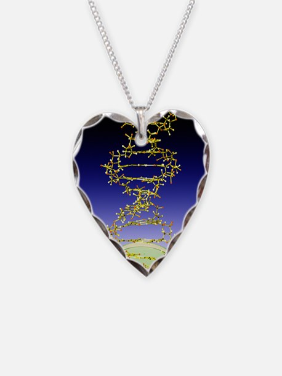 DNA molecule Necklace Heart Charm