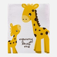 Mother and child Giraffe Throw Blanket