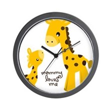Mother and child Giraffe Wall Clock