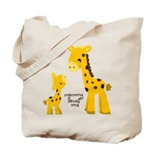 Mother and child Giraffe Tote Bag