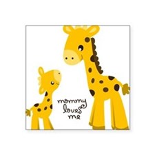 "Mother and child Giraffe Square Sticker 3"" x 3"""
