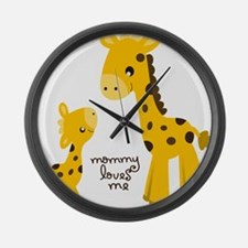 Mother and child Giraffe Large Wall Clock