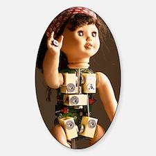Robot baby doll Sticker (Oval)