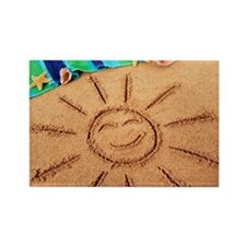 Beach scene with smiling sun Rectangle Magnet