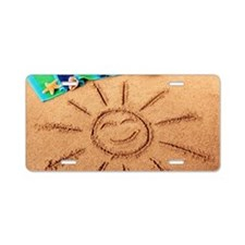 Beach scene with smiling su Aluminum License Plate