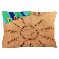 Beach scene with smiling sun Pillow Case