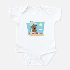 Teddy Bear Beach Bum Surfer Infant Bodysuit