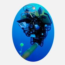 Robot submarine Oval Ornament