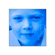 """DNA over a boy's face Square Sticker 3"""" x 3"""""""