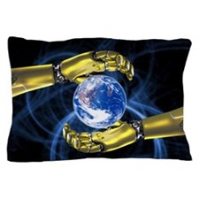 Robotic hands and Earth, artwork Pillow Case