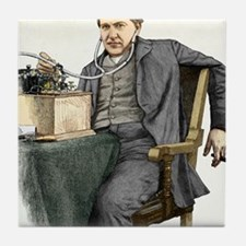 Edison and his phonograph Tile Coaster