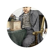 "Edison and his phonograph 3.5"" Button"