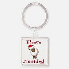 FleeceNavidadGreenHeader Square Keychain