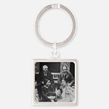 E. Rutherford together with Niels  Square Keychain