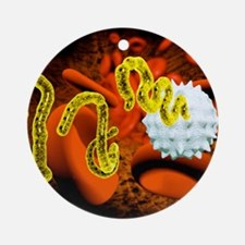 Ebola virus and blood cells Round Ornament