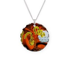Ebola virus and blood cells Necklace Circle Charm
