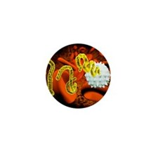 Ebola virus and blood cells Mini Button