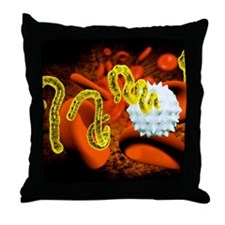 Ebola virus and blood cells Throw Pillow