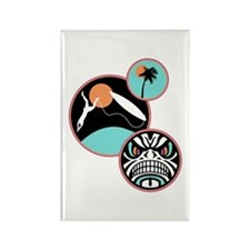 Hawaiian Tribal Surf Design Rectangle Magnet