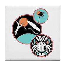 Hawaiian Tribal Surf Design Tile Coaster