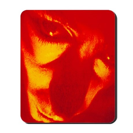 Face and eyes of a man suffering paranoi Mousepad
