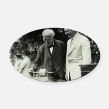 Edison and his phonograph Oval Car Magnet