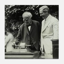 Edison and his phonograph Tile Coaster