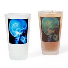 Security chip in a human skull Drinking Glass