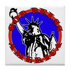 God Bless America Patriotic Tile Coaster