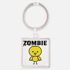 Zombie Chick Square Keychain