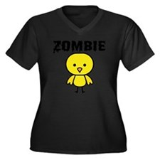 Zombie Chick Women's Plus Size Dark V-Neck T-Shirt