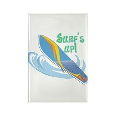 Surf's Up Surfboard Design Rectangle Magnet (10 pa