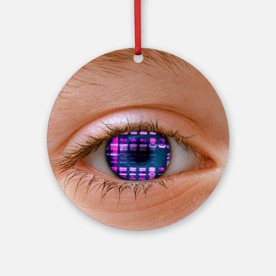 Eye and DNA autoradiogram Round Ornament