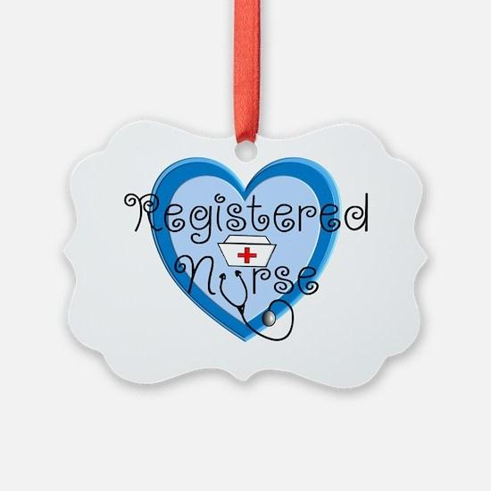 RN heart Blue Stetho cap Ornament