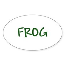 Green Text Frog Oval Decal