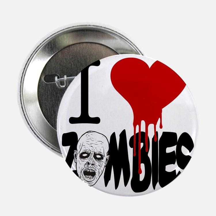 """I Love Zombies 2.25"""" Button"""