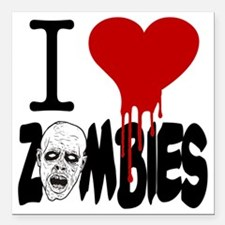 "I Love Zombies Square Car Magnet 3"" x 3"""