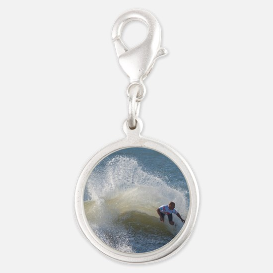 Quicksilver Surfing Silver Round Charm