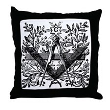 Masonic Working Tools with Laurel Throw Pillow