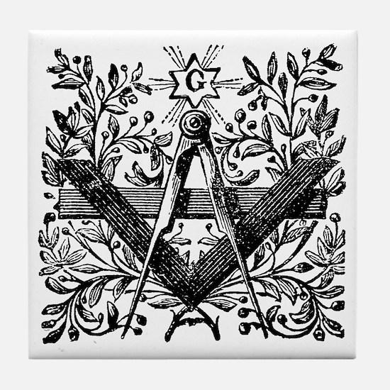 Masonic Working Tools with Laurel Tile Coaster